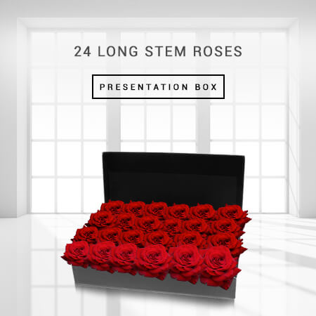 Image of 24 Long Stem Roses Presentation Box Flowers